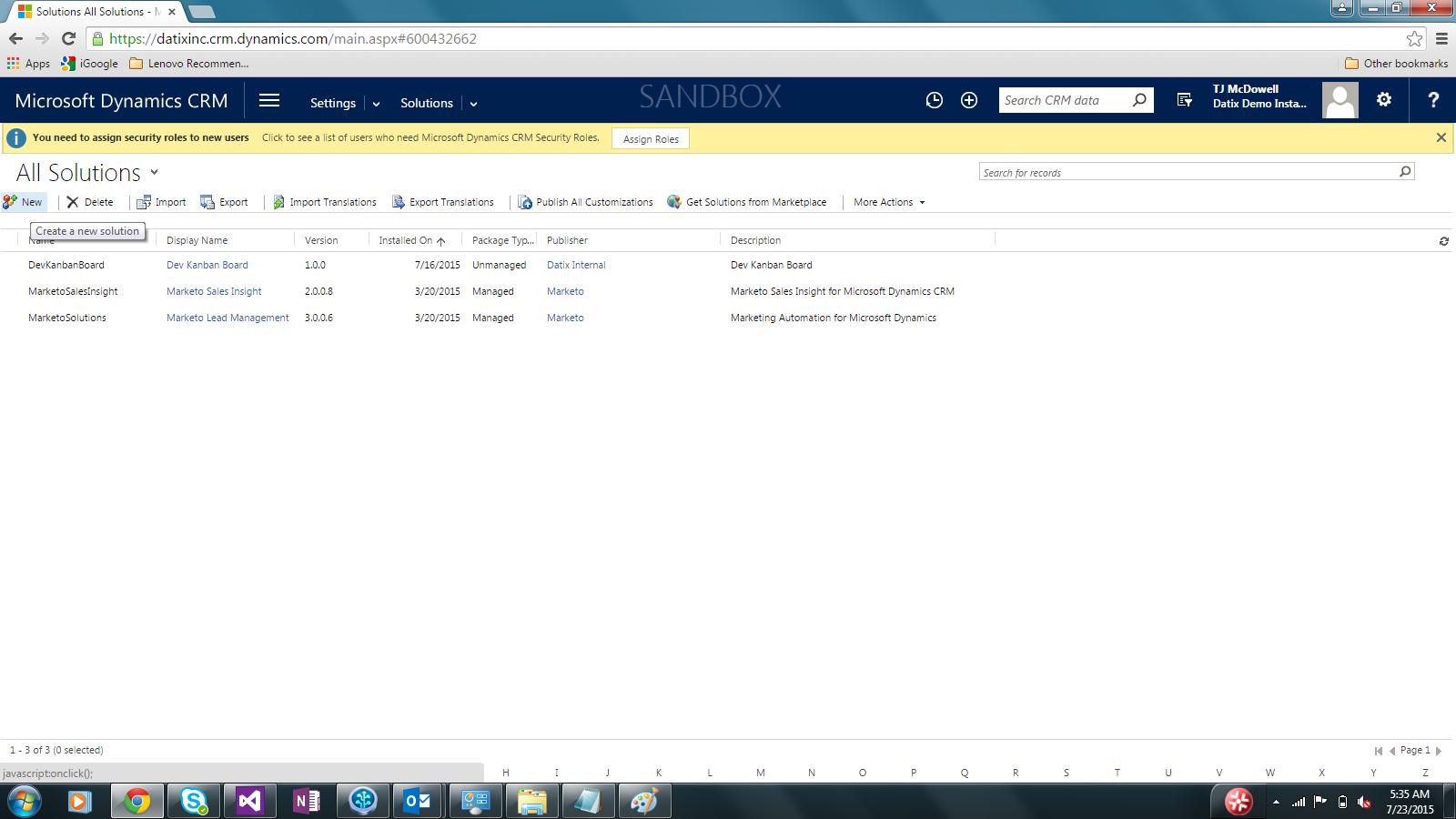 dynamics crm solutions menu