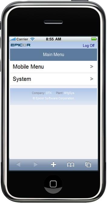 Epicor Mobile CRM Main Menu