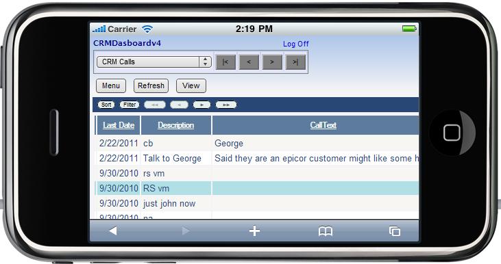 Epicor Mobile CRM Call List