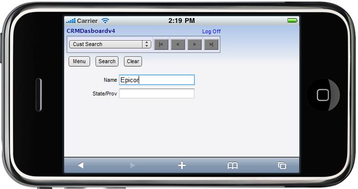 Epicor Mobile CRM Customer/Prospect Search