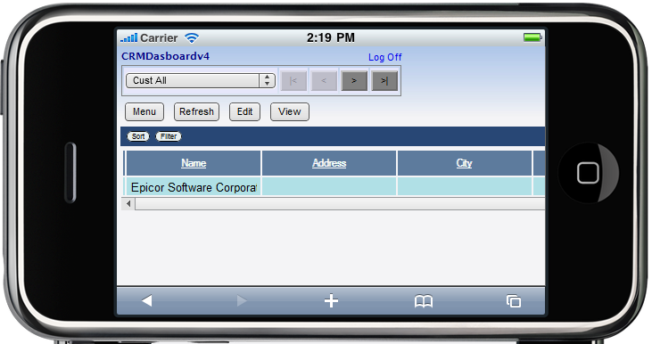 Epicor Mobile CRM Search Results