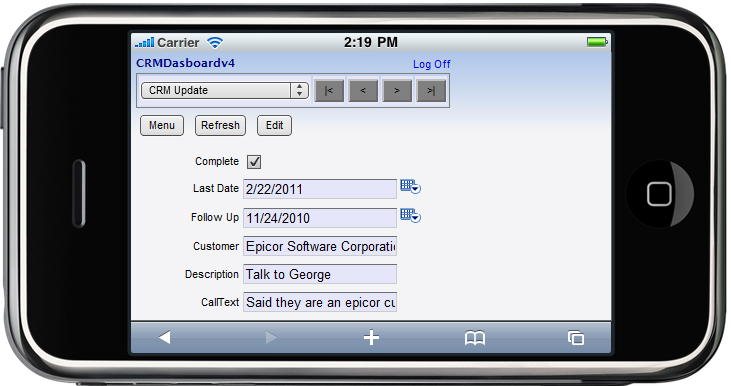 Epicor Mobile CRM Update Call