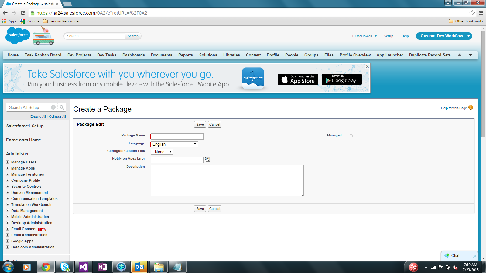 salesforce create packages