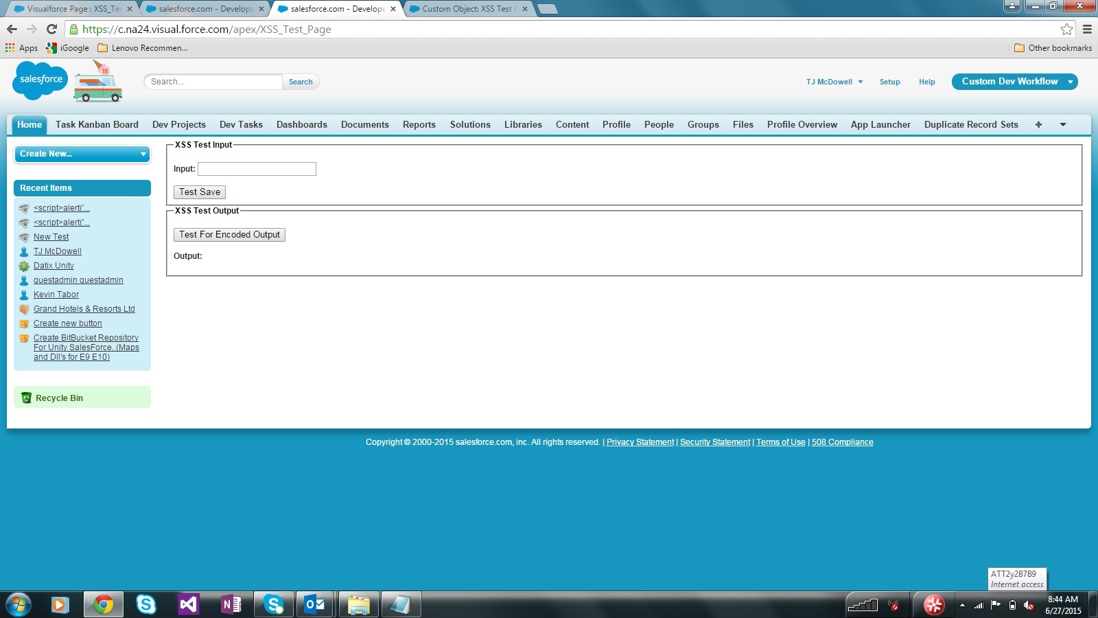 Visualforce XSS Test Page Empty