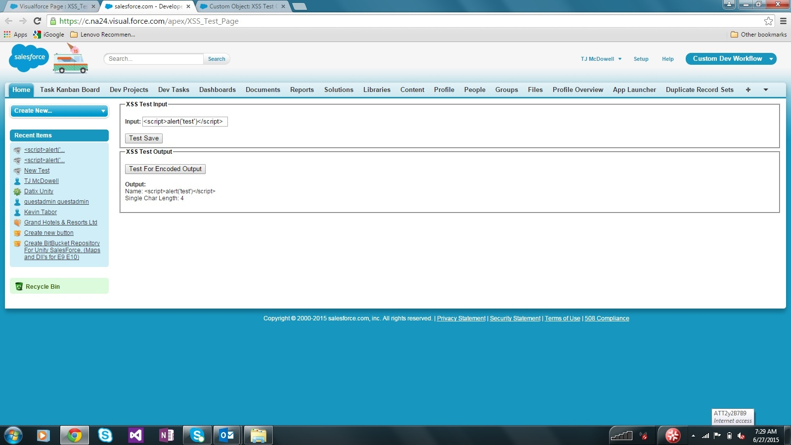 Visualforce XSS Test Page Rendered