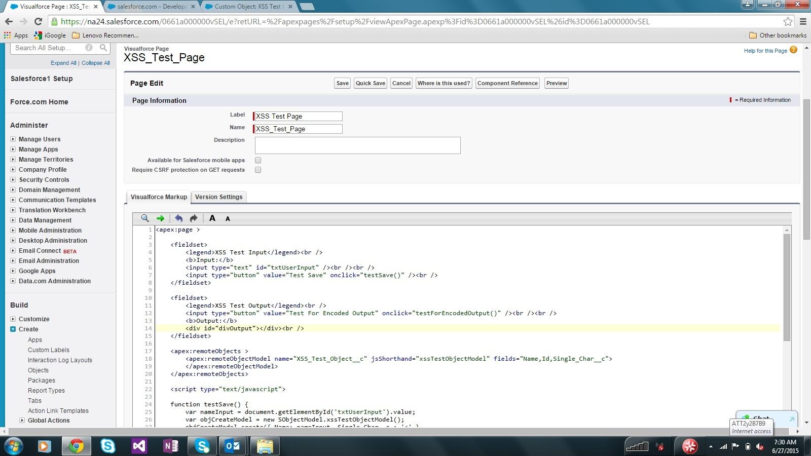 Salesforce XSS Test Page Source