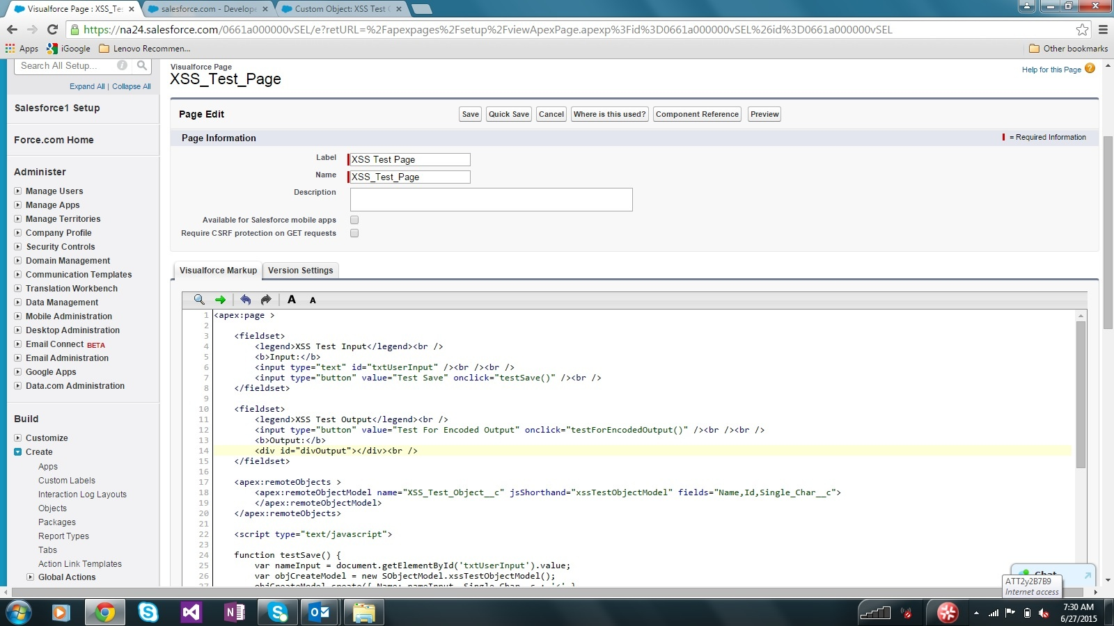Salesforce XSS Test Page Source