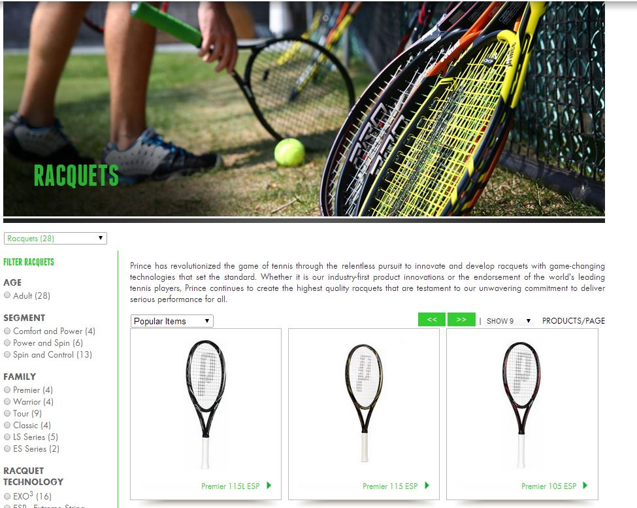 prince racquets znode