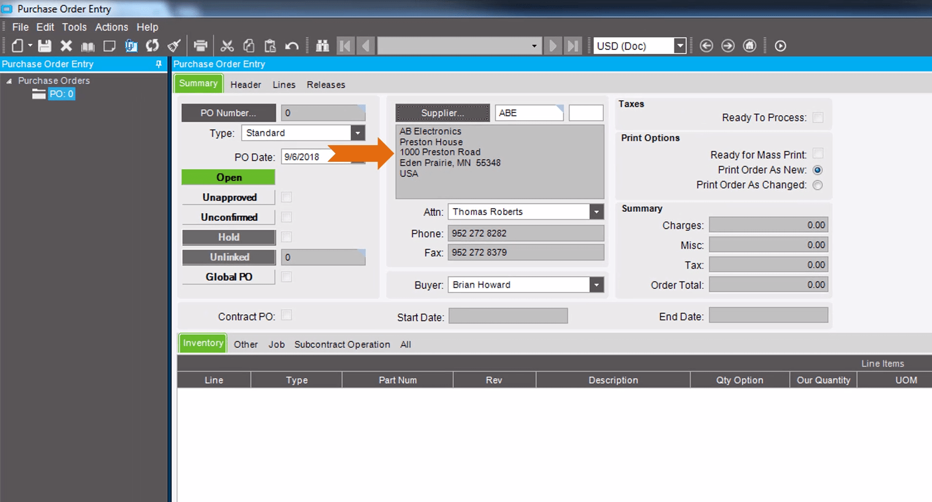 How to Enter a Purchase Order in Epicor ERP
