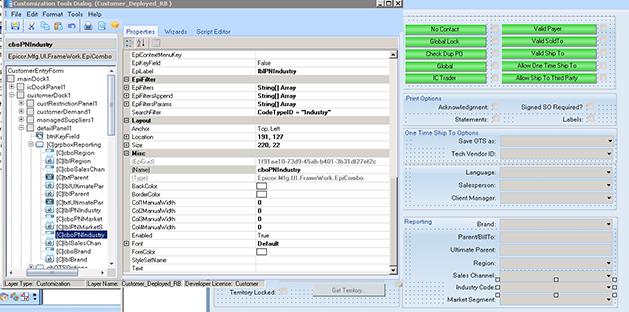 customization tools dialog box